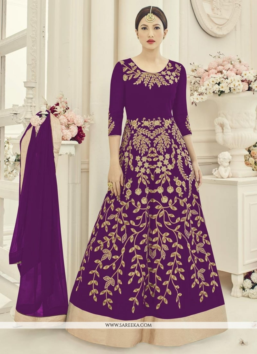 Gauhar Khan Purple Floor Length Anarkali Suit
