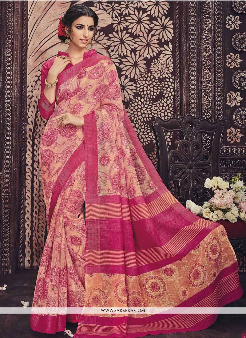 Gilded Art Silk Print Work Casual Saree