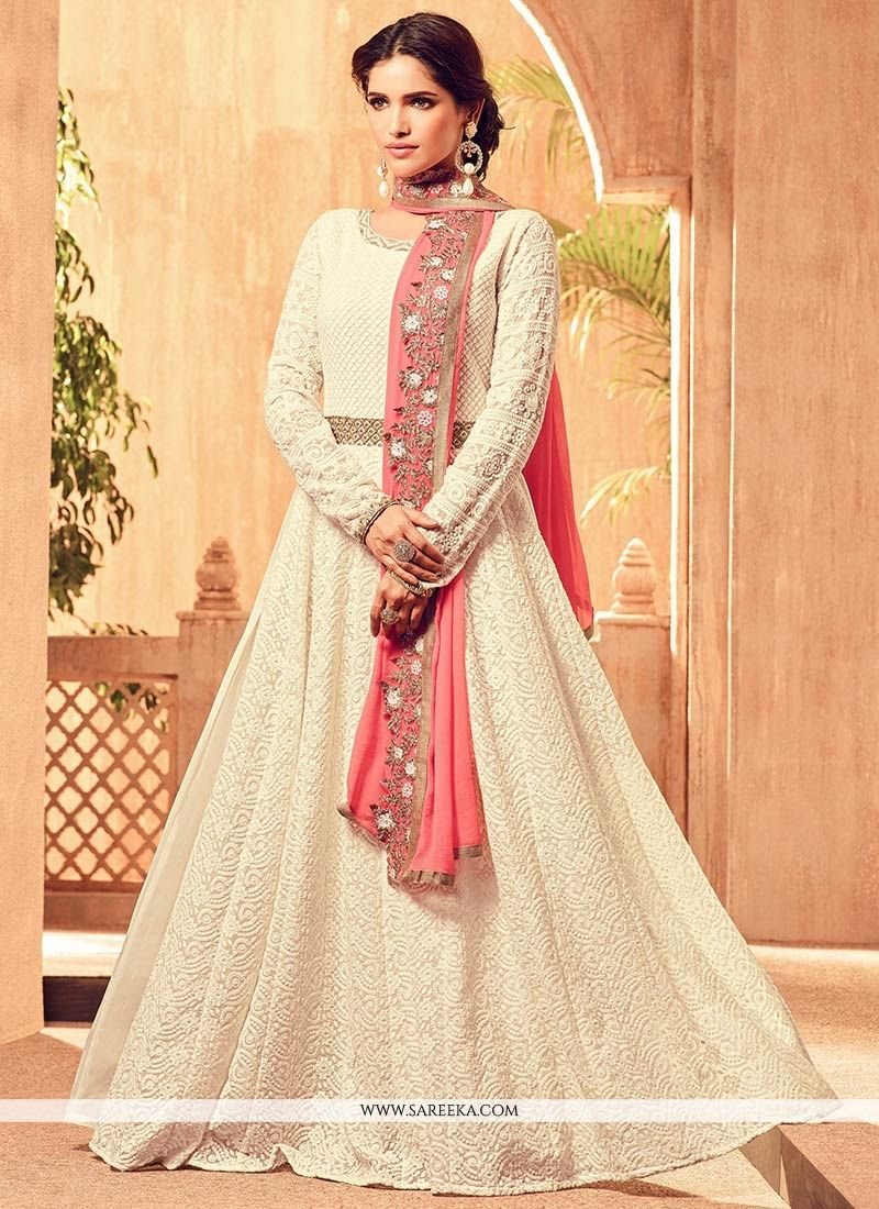 Embroidered Work Faux Georgette Off White Floor Length Anarkali Suit