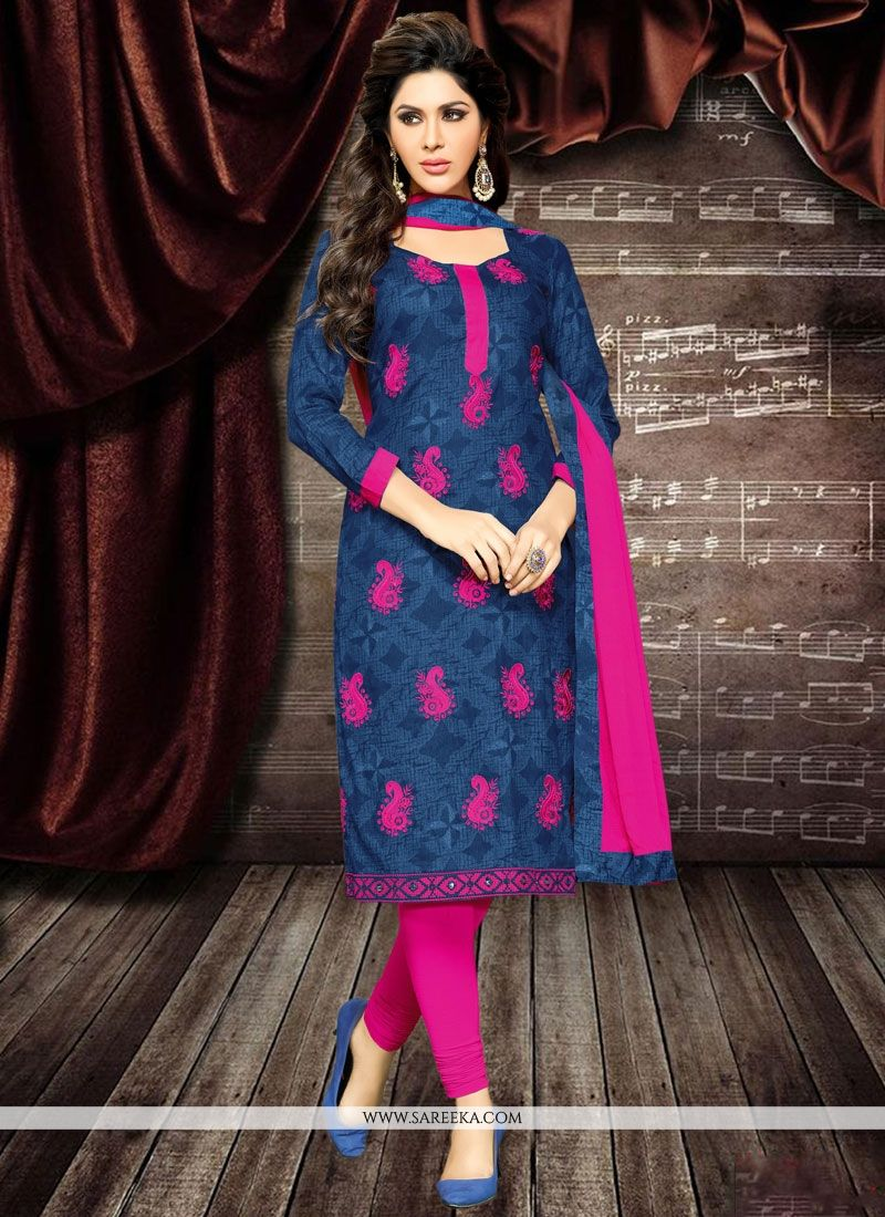 Hot Pink and Navy Blue Churidar Designer Suit