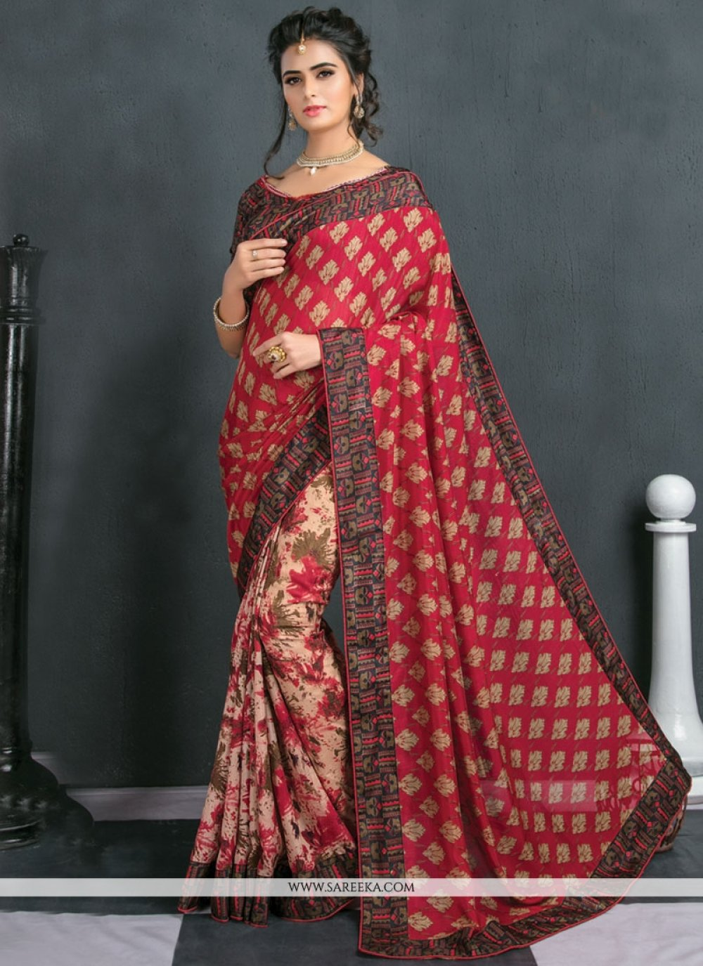 Art Silk Beige and Red Traditional  Saree