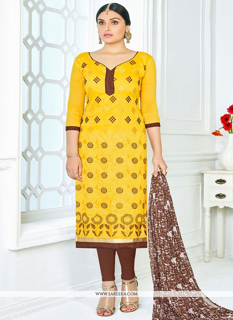 Brown And Yellow Living Room Decor: Buy Brown And Yellow Embroidered Work Churidar Suit Online