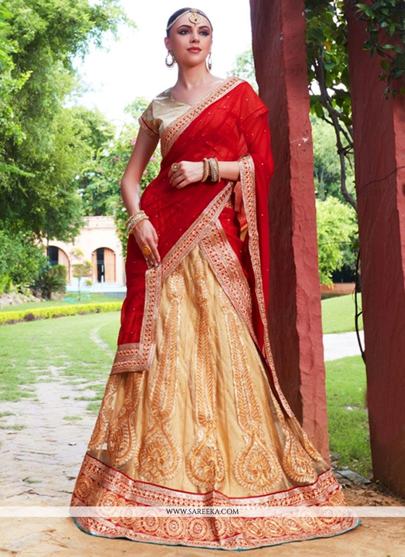 d476fac5f2 Buy Gold and Red Embroidered Work Net Lehenga Choli Online : South Africa -