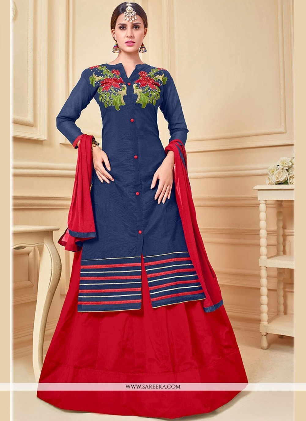 Chanderi Cotton Embroidered Work Long Choli Lehenga
