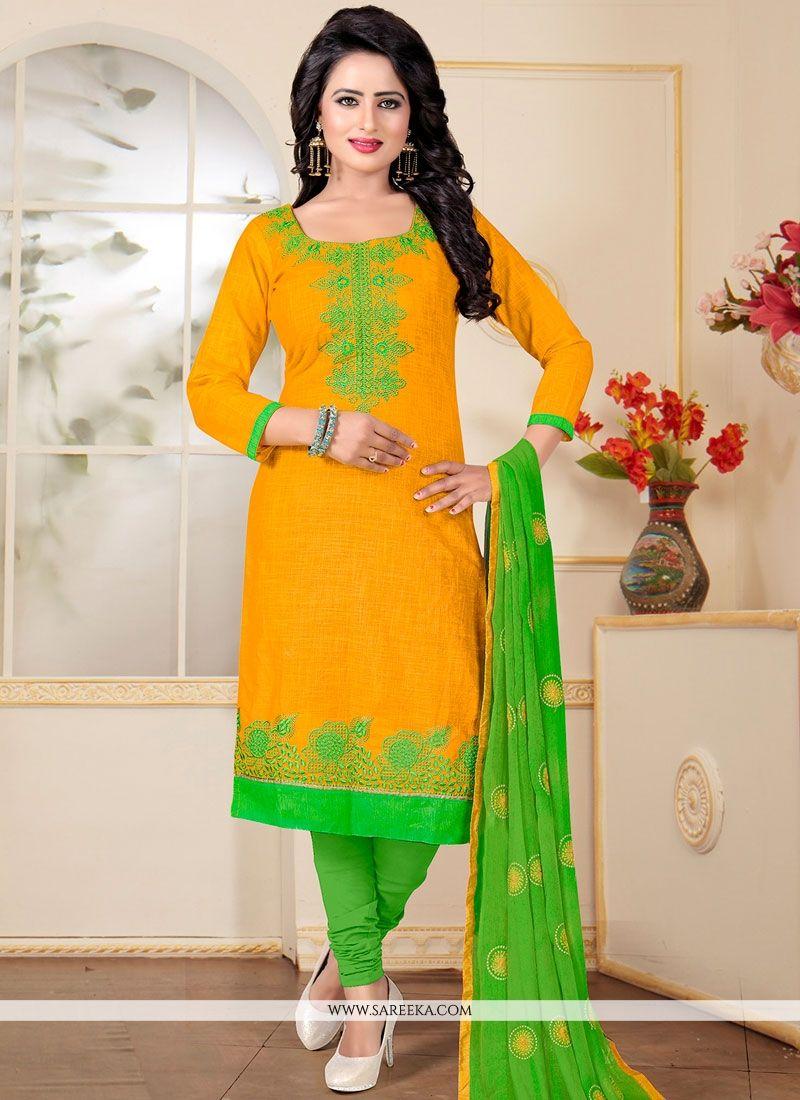 Green and Yellow Resham Work Cotton   Churidar Suit