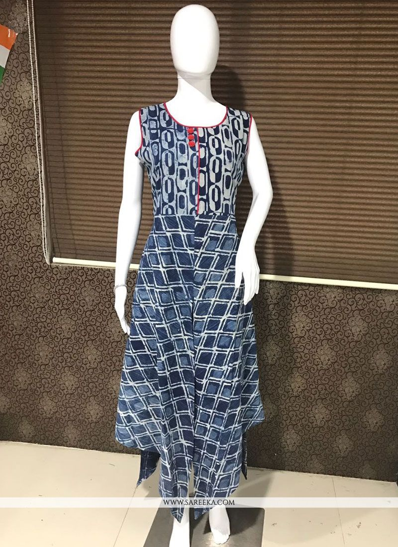 Navy Blue Print Work Party Wear Kurti
