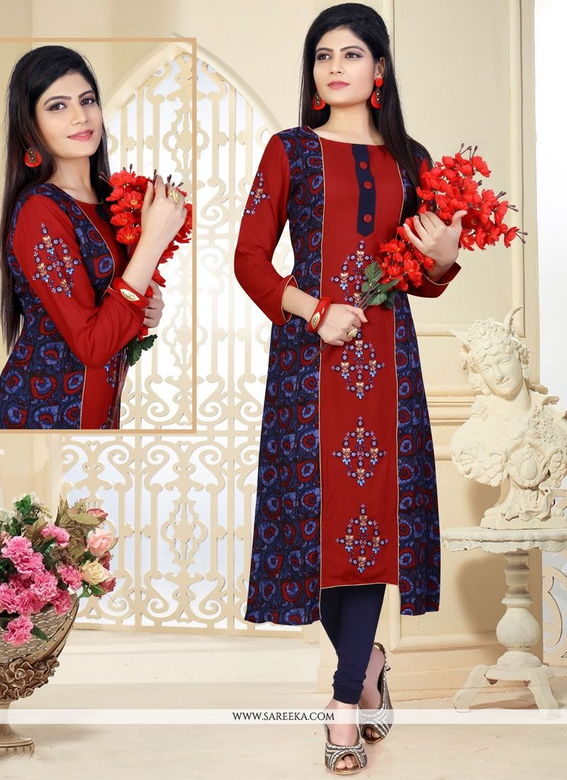 Rayon Embroidered Work Party Wear Kurti