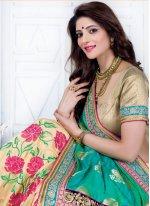 Embroidered Work Art Silk Designer Half N Half Saree
