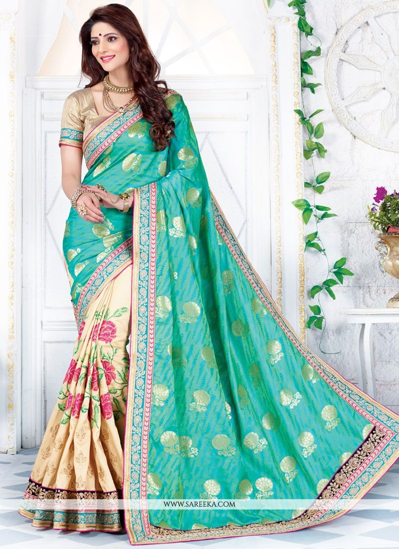 Embroidered Work Art Silk Designer Half N Half Saree