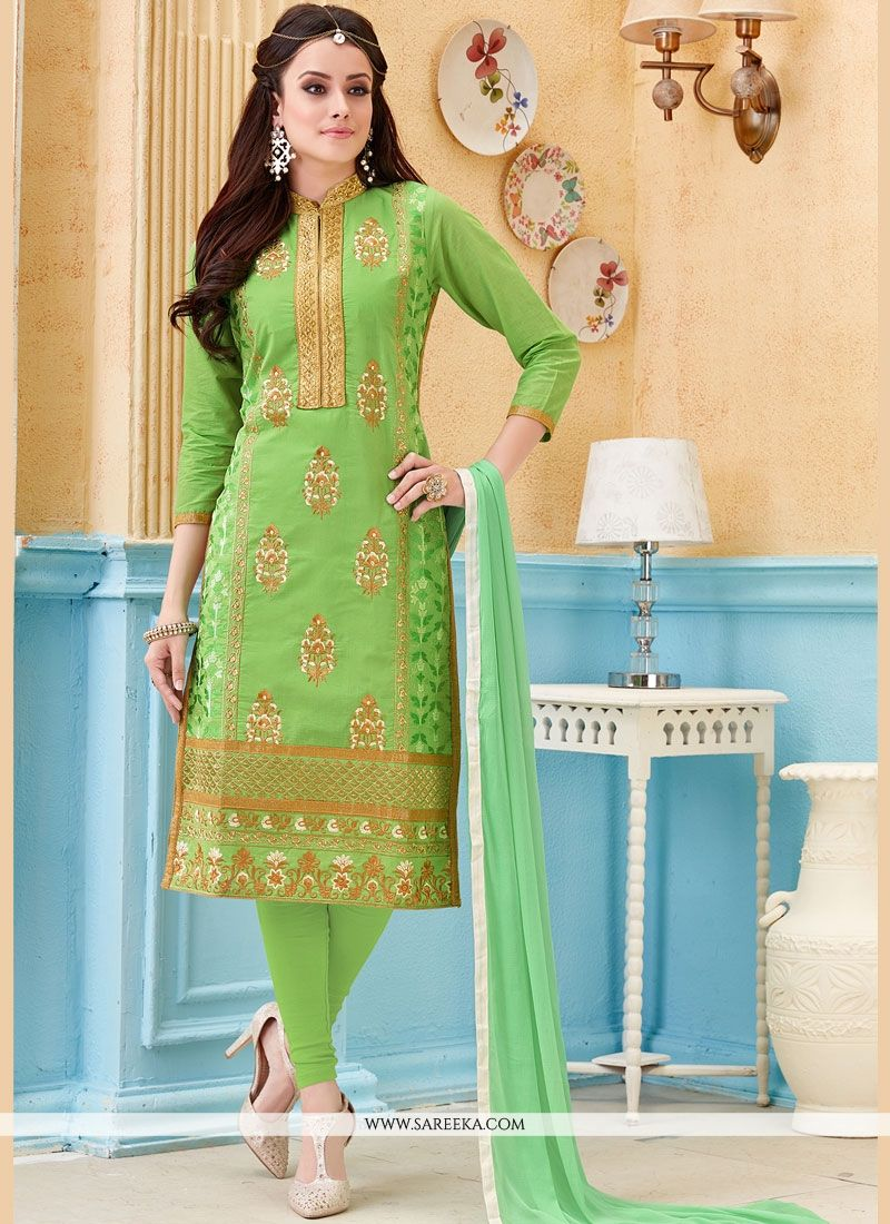 Embroidered Work Green Cotton   Churidar Suit