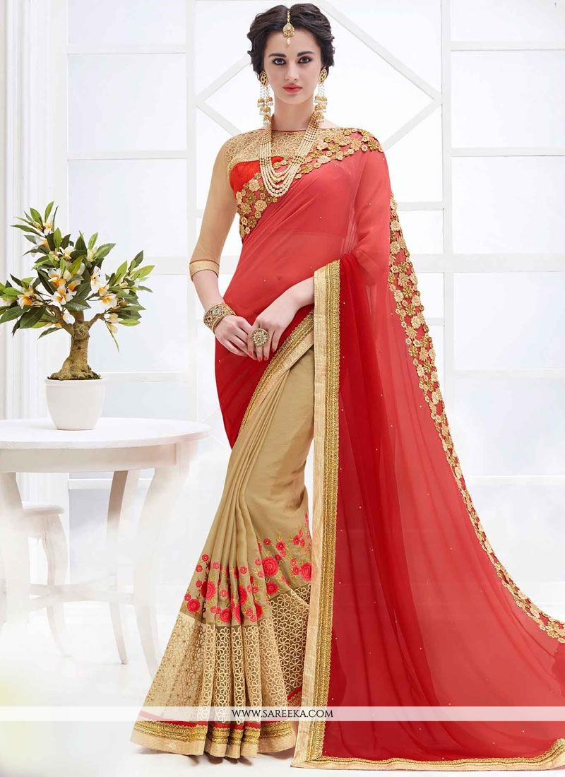 Faux Georgette Beige and Red Half N Half  Saree