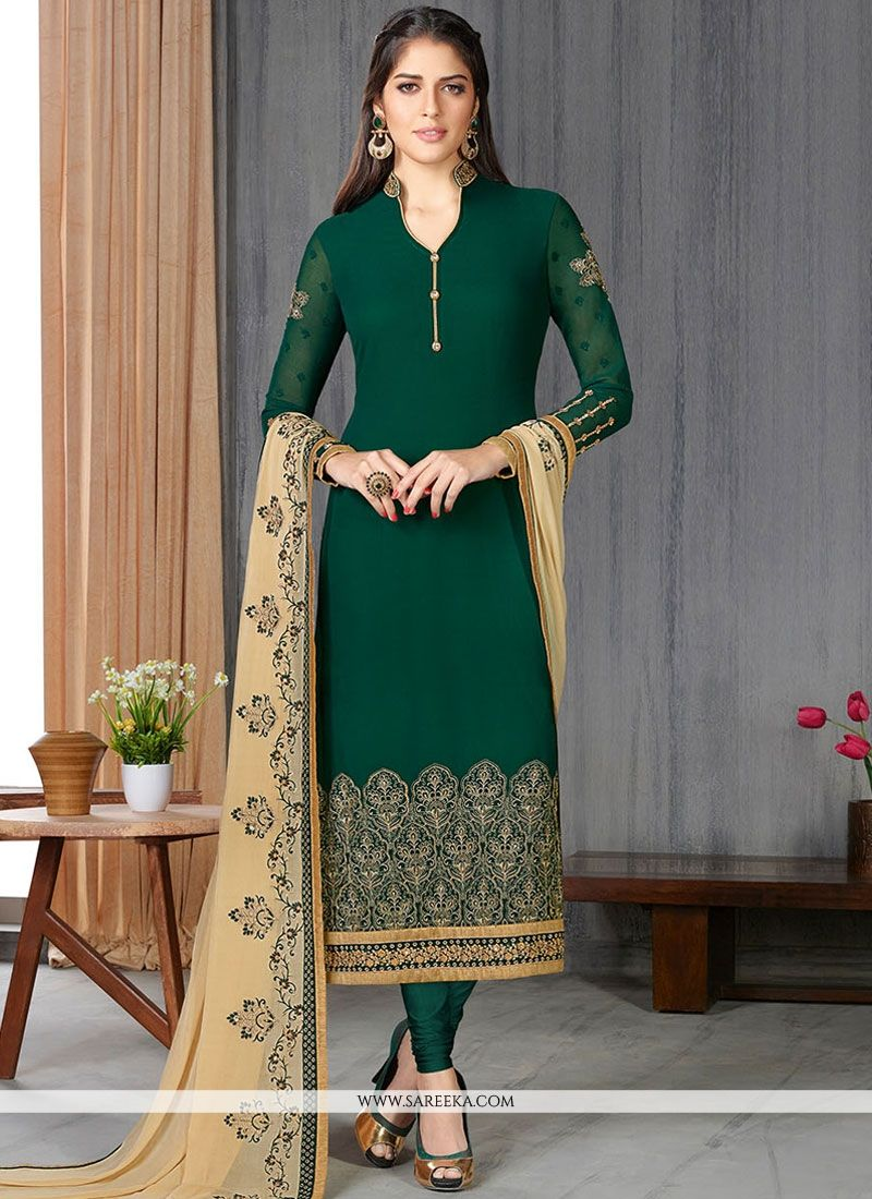 Green Faux Georgette Churidar Suit