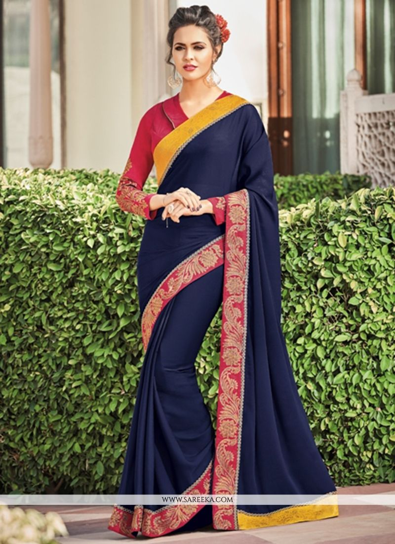 Navy Blue Patch Border Work Faux Georgette Designer Saree
