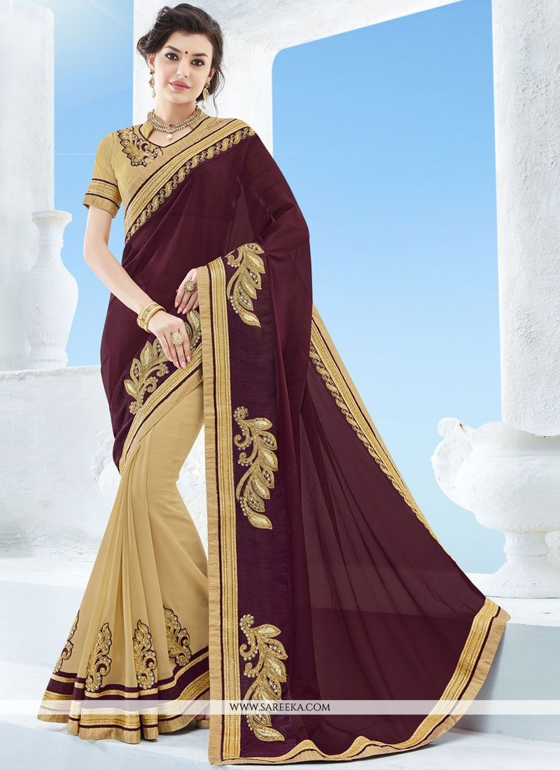 Faux Chiffon Beige and Maroon Half N Half Trendy Saree