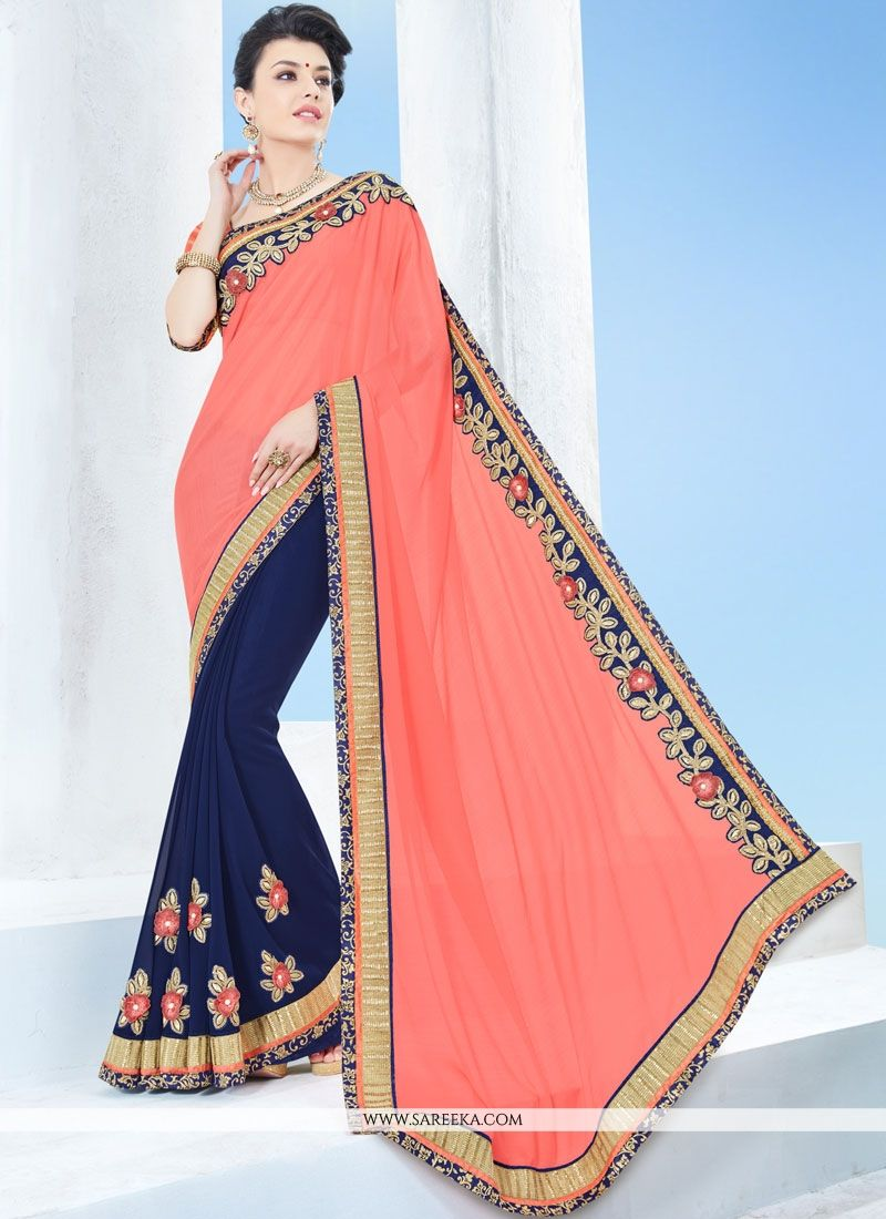 Navy Blue and Peach Faux Chiffon Half N Half  Saree