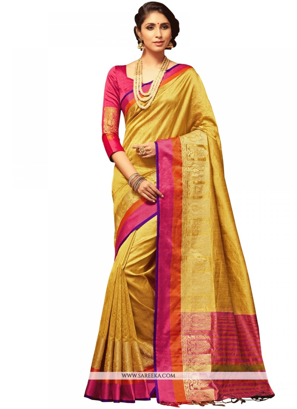 Gold Weaving Work Art Silk Designer Traditional Saree