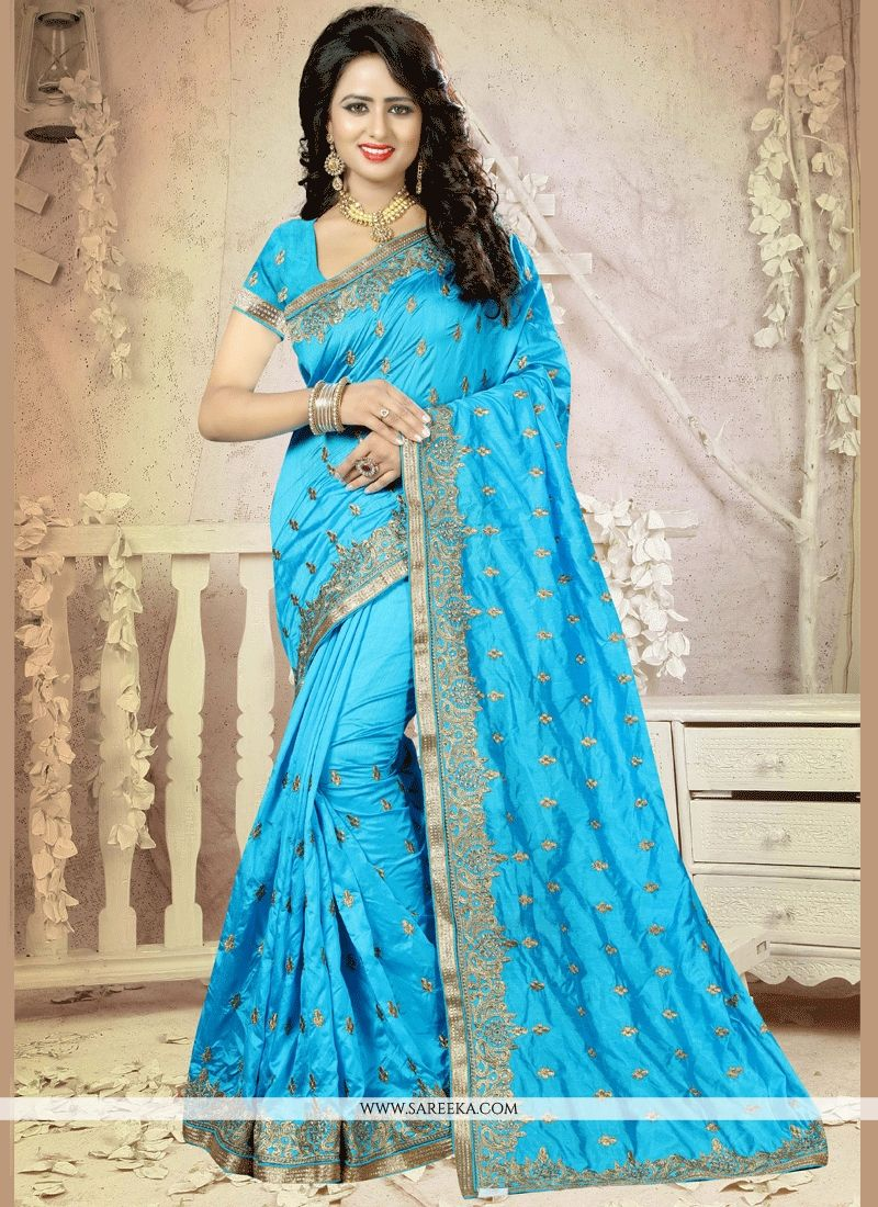 Gorgonize Art Silk Turquoise Embroidered Work Designer Traditional Saree