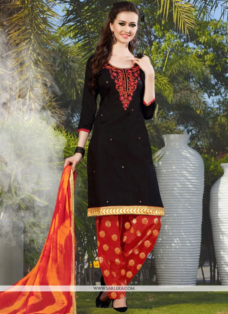 Black Lace Work Punjabi Suit