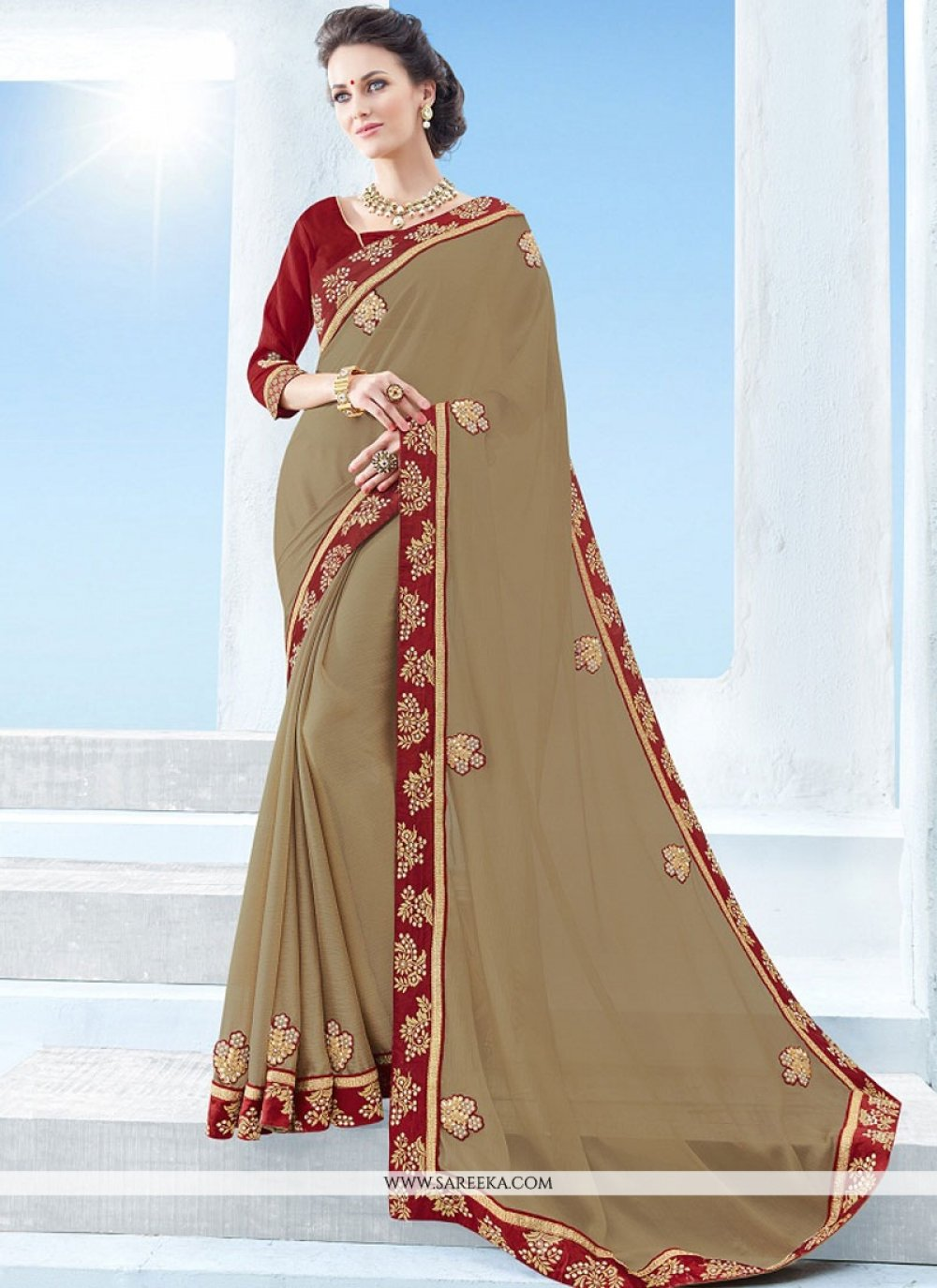 Faux Chiffon Beige Embroidered Work Classic Saree