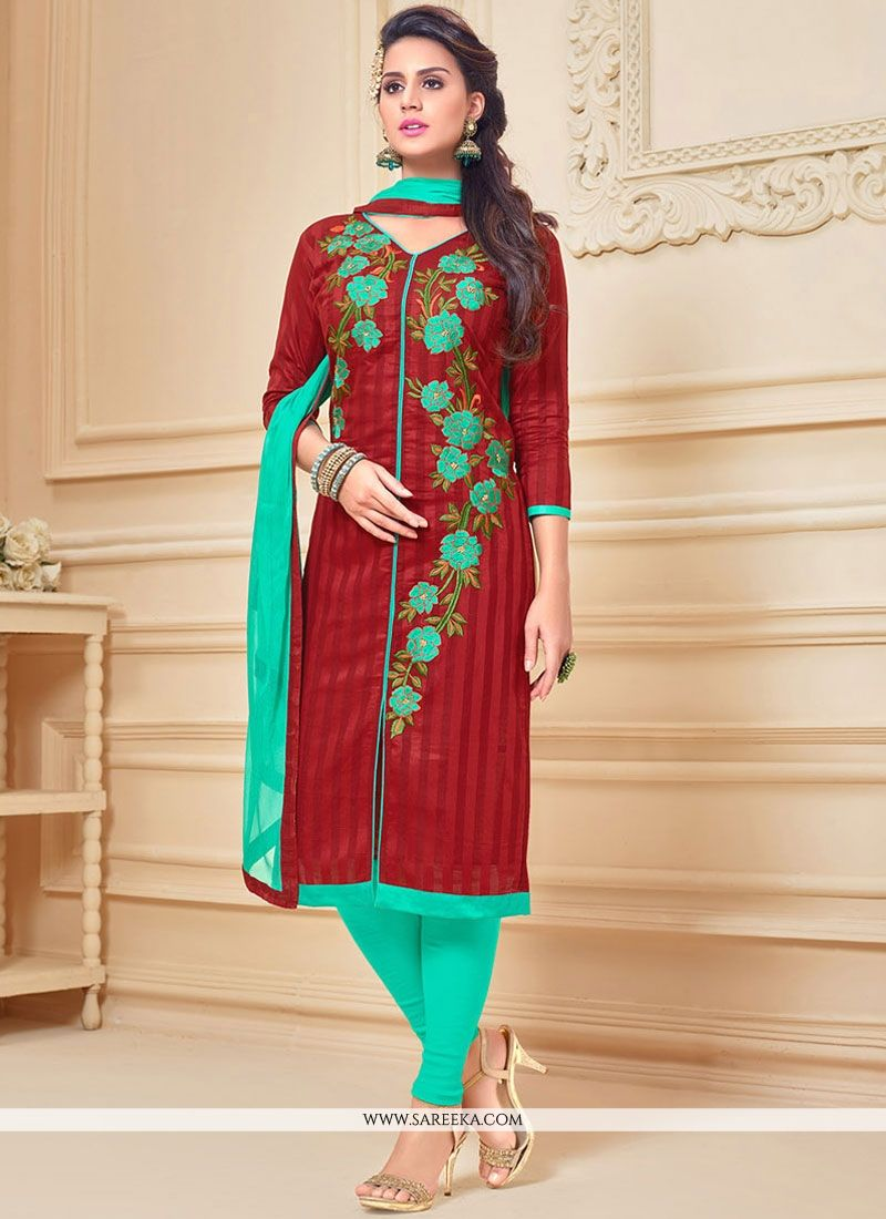Maroon Churidar Suit