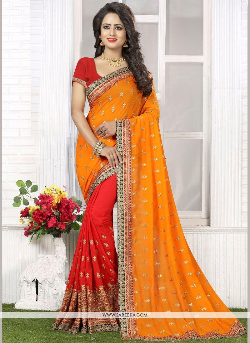 Orange and Red Patch Border Work Faux Georgette Half N Half Designer Saree