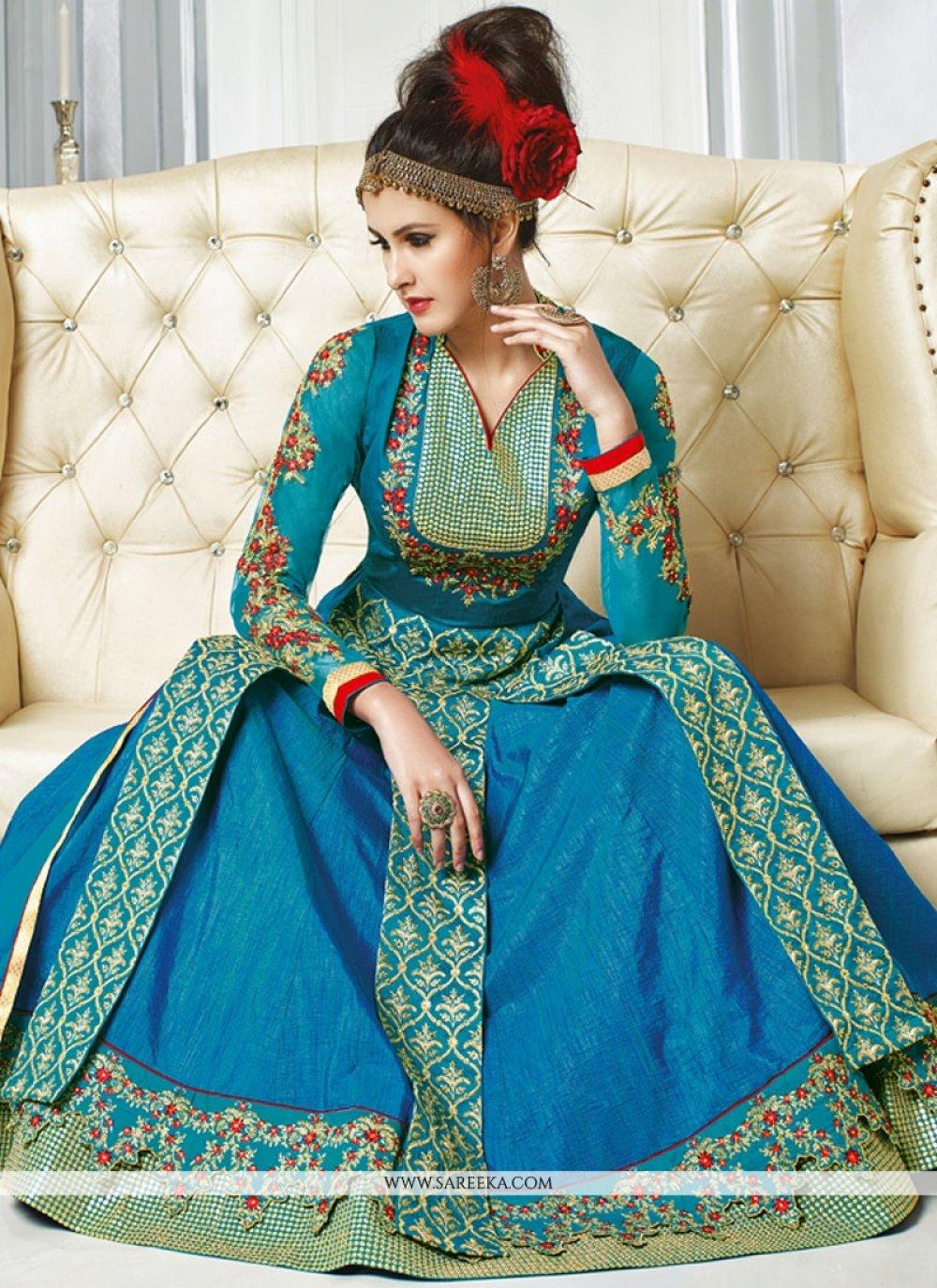 Zari Work Net Designer Floor Length Suit