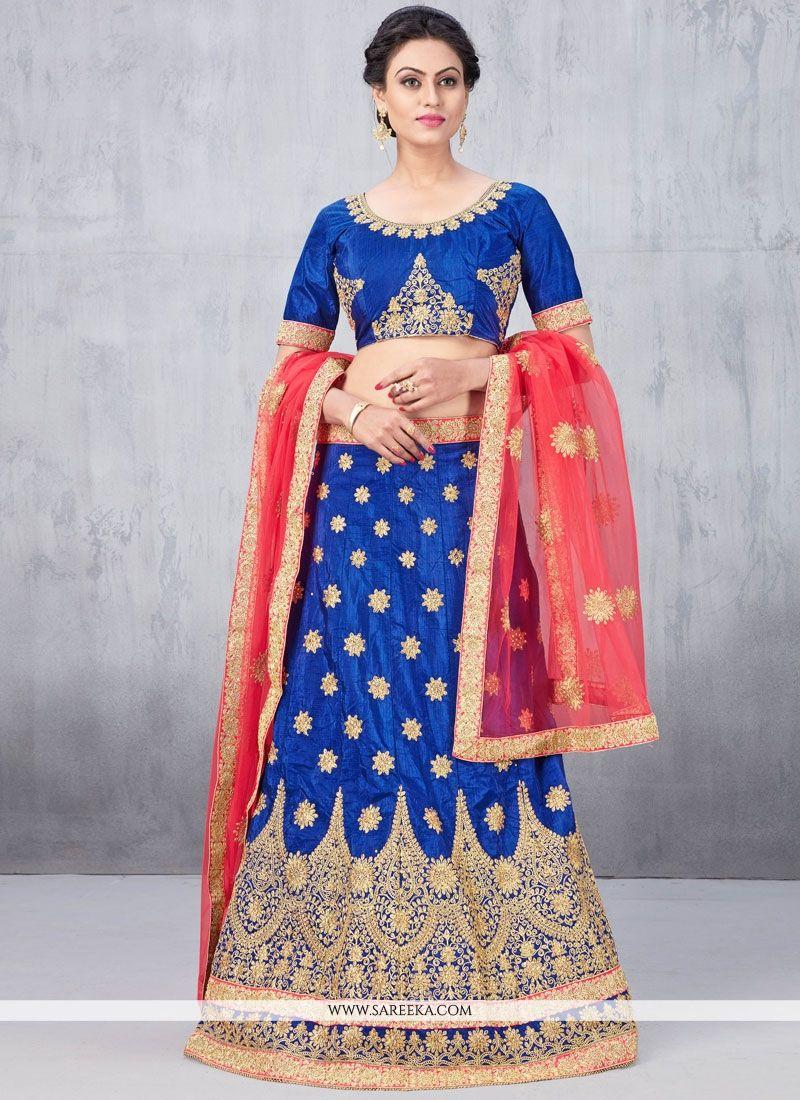 Blue Stone Work Art Silk Lehenga Choli