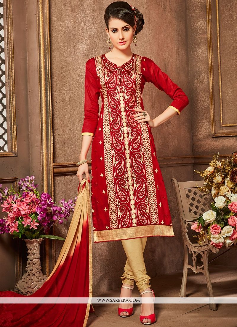 Cotton   Red Embroidered Work Churidar Designer Suit