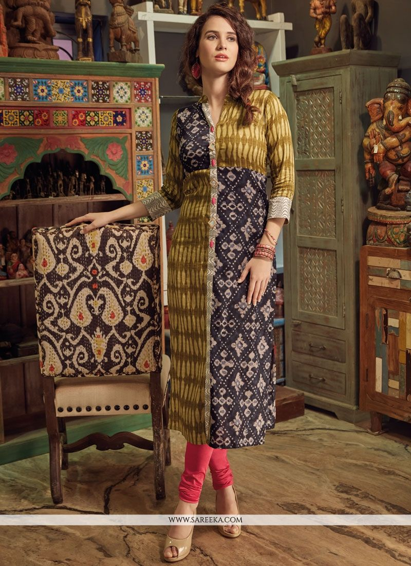 Print Work Multi Colour Rayon Party Wear Kurti