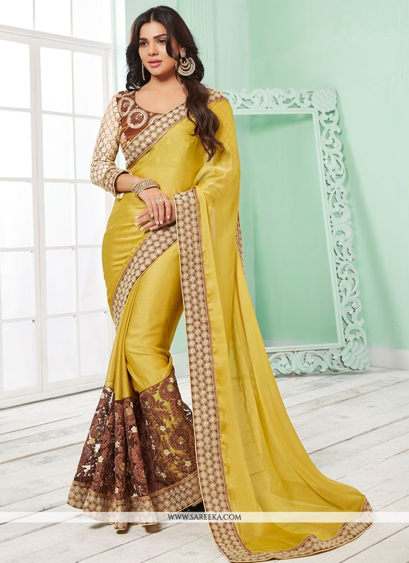 867b275687 Mustard yellow designer saree