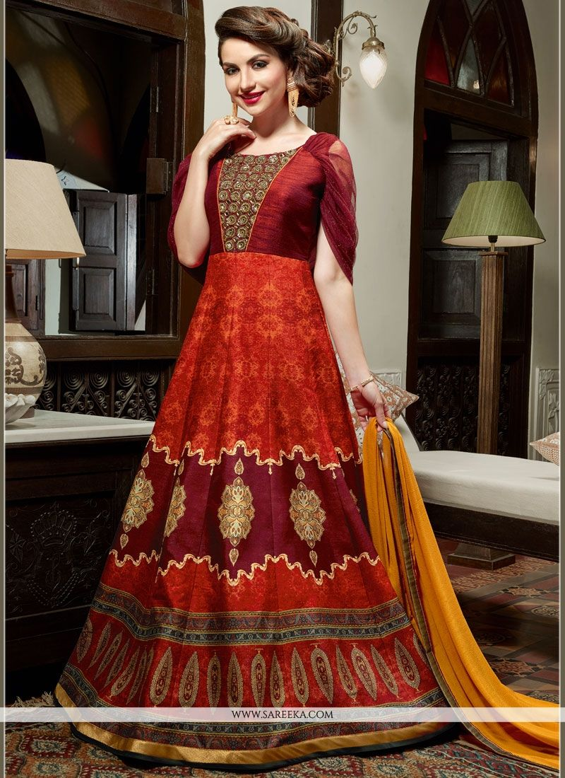 Art Silk Multi Colour Floor Length Anarkali Suit
