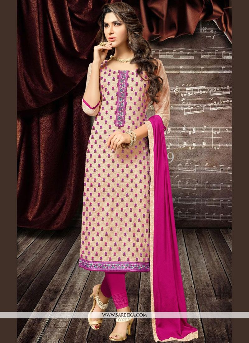 Cotton   Beige and Magenta Churidar Designer Suit