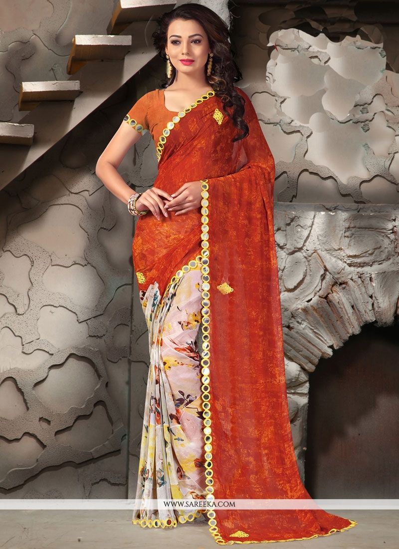 Patch Border Work Printed Saree