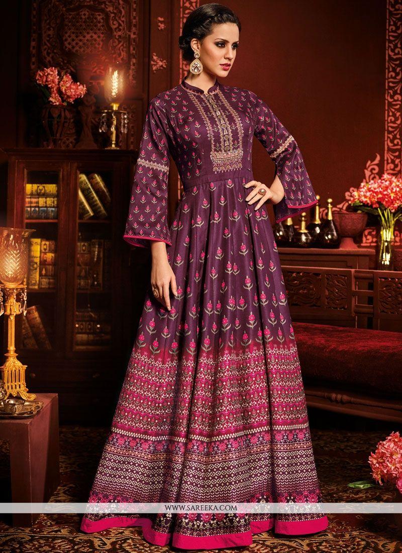 Embroidered Work Purple Floor Length Anarkali Suit