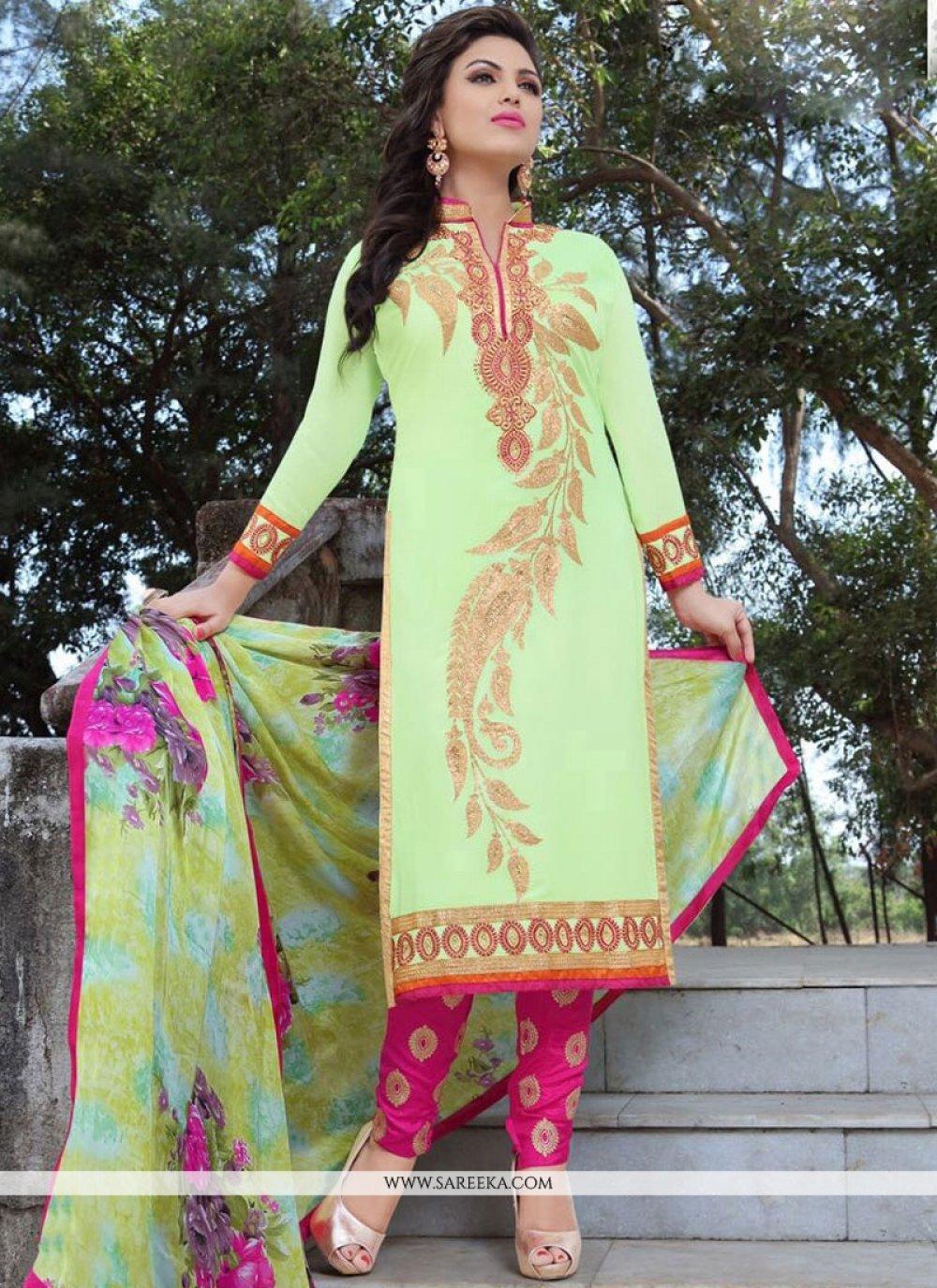 Green and Hot Pink Churidar Designer Suit