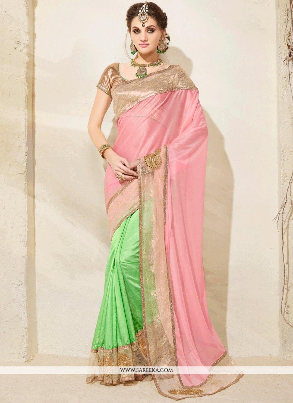 Green and Pink Embroidered Work Art Silk Designer Half N Half Saree