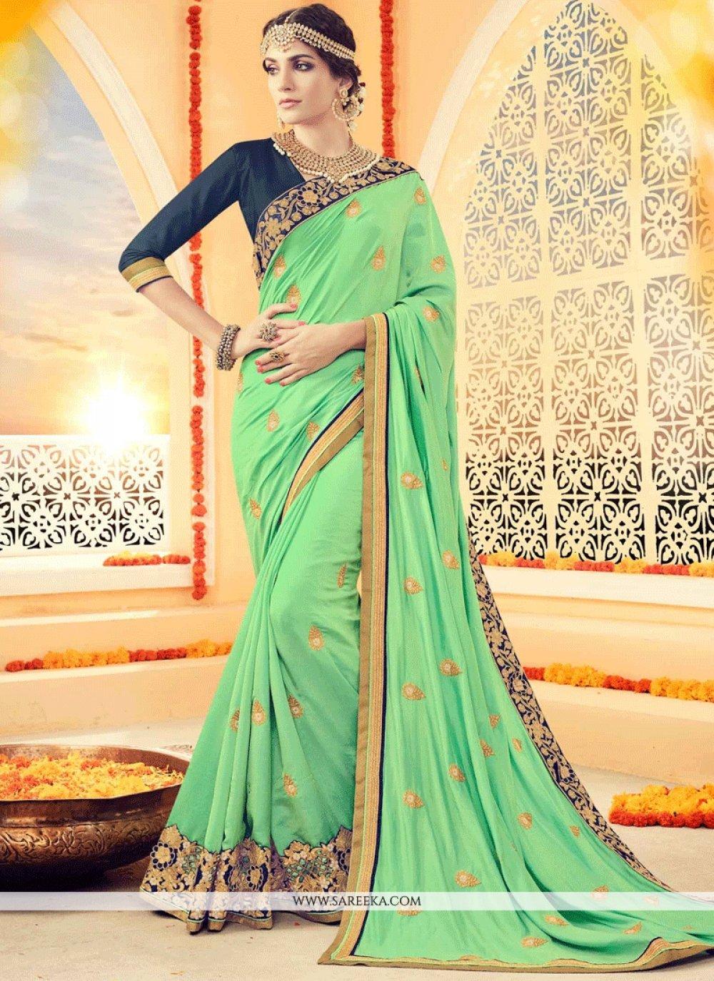 Green Embroidered Work Art Silk Designer Traditional Saree