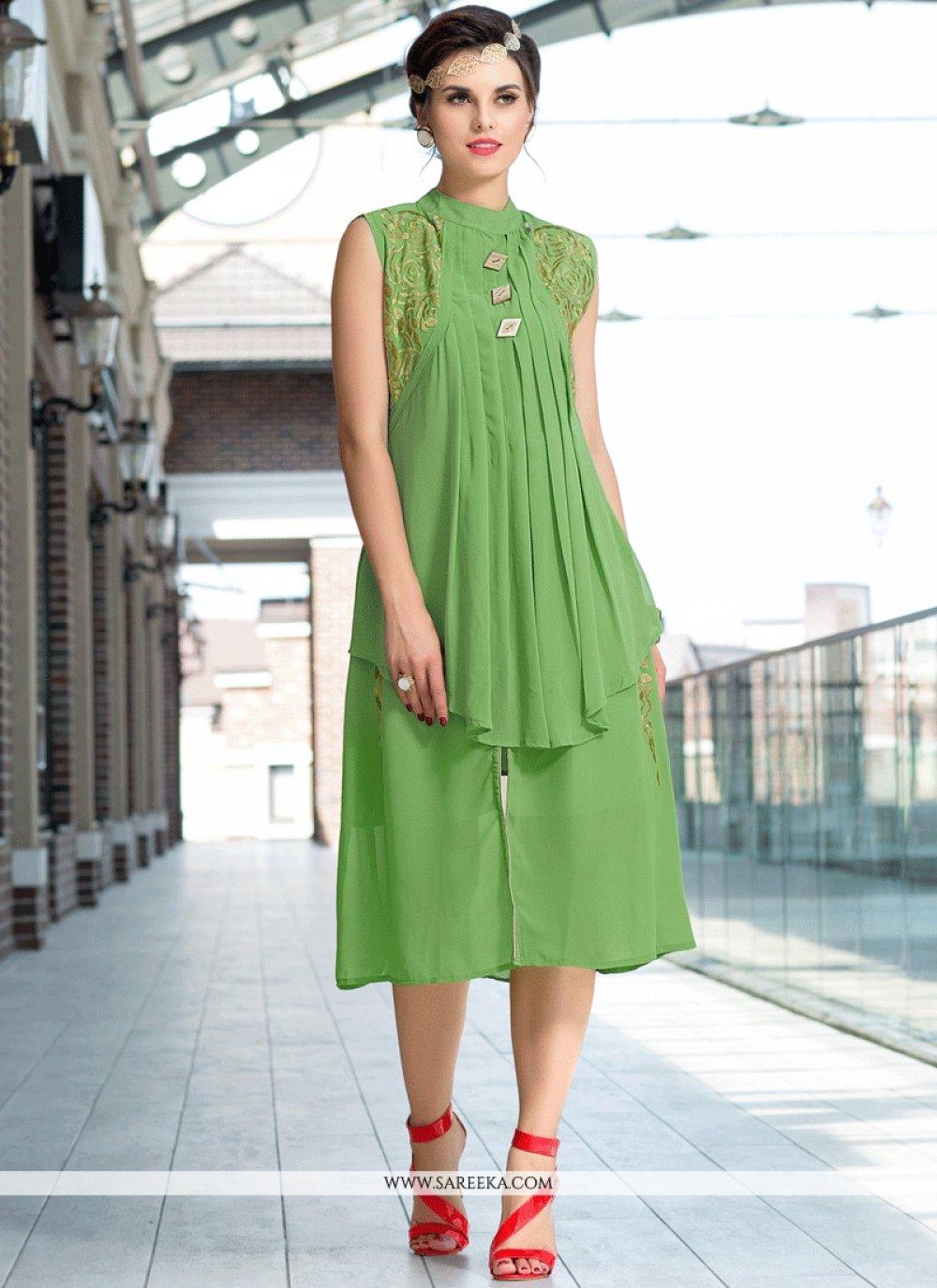 Green Faux Georgette Party Wear Kurti