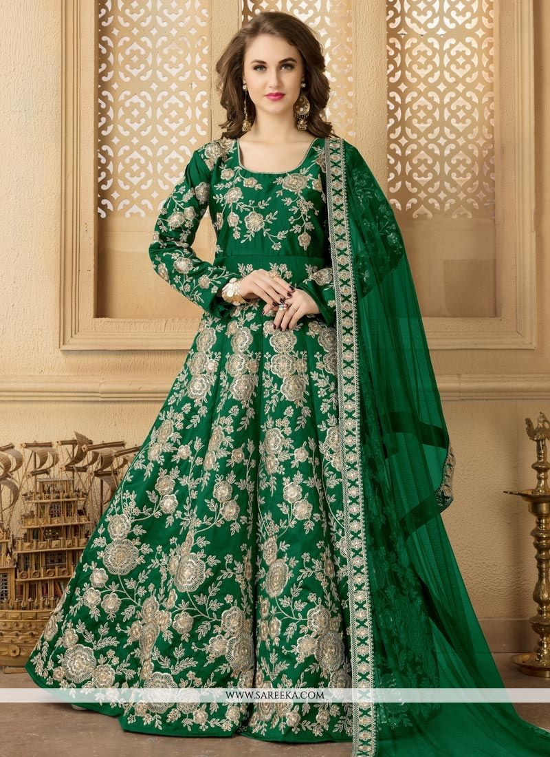 Green Floor Length Anarkali Suit