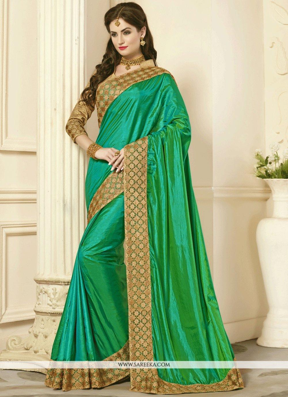 Green Patch Border Work Art Silk Designer Traditional Saree