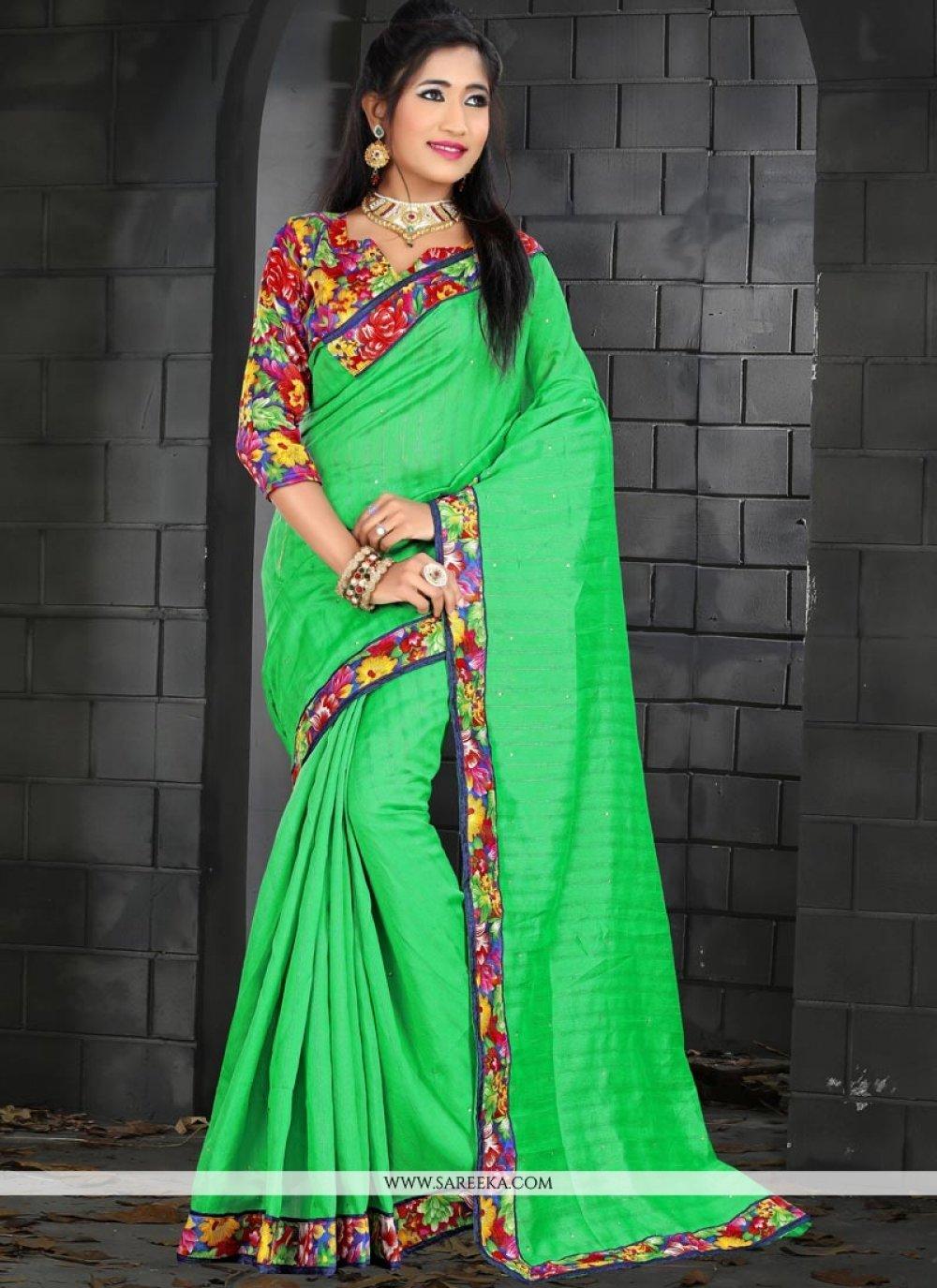Green Patch Border Work Bhagalpuri Silk Traditional  Saree