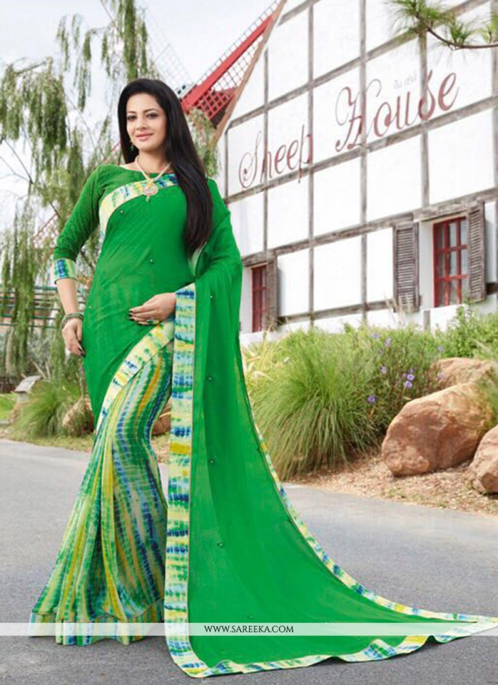 Green Print Work Faux Georgette Casual Saree