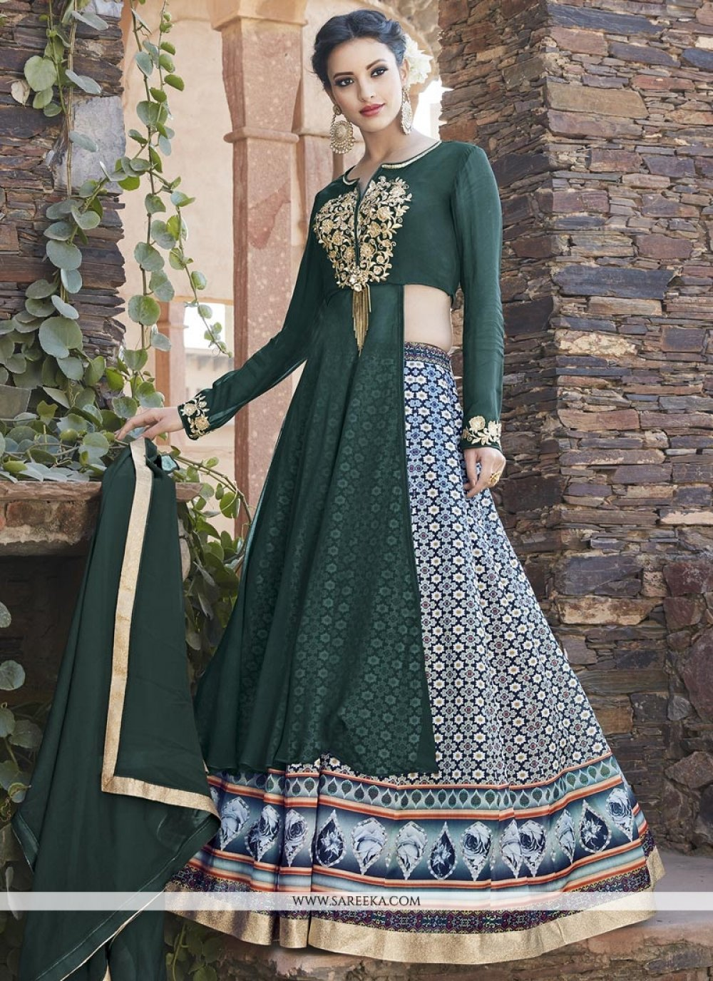 Green Print Work Long Choli Lehenga