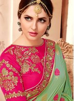 Green Raw Silk Traditional Designer Saree