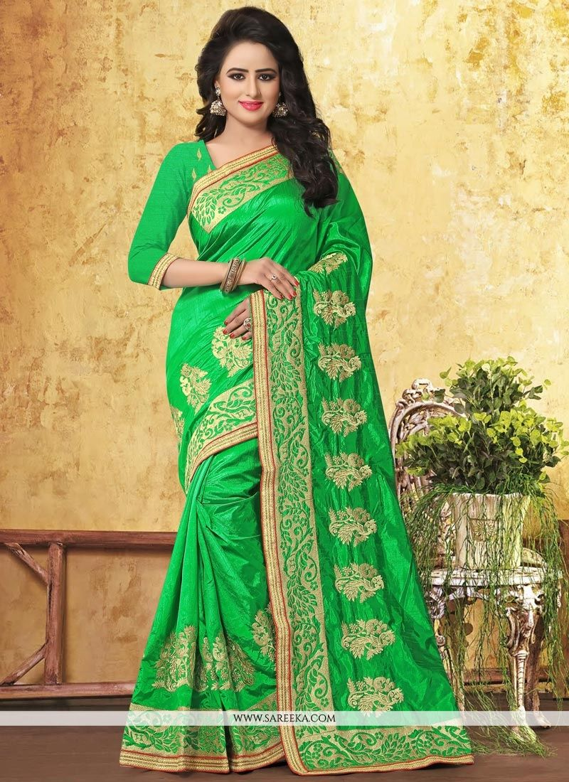 Green Resham Work Art Silk Traditional Designer Saree