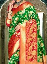 Green Weaving Work Handloom silk Traditional Designer Saree