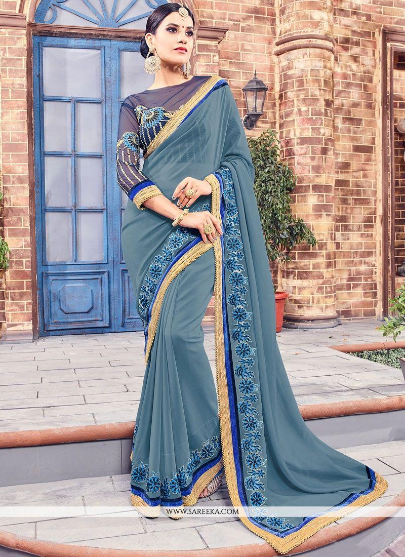 Grey Embroidered Work Fancy Fabric Designer Saree