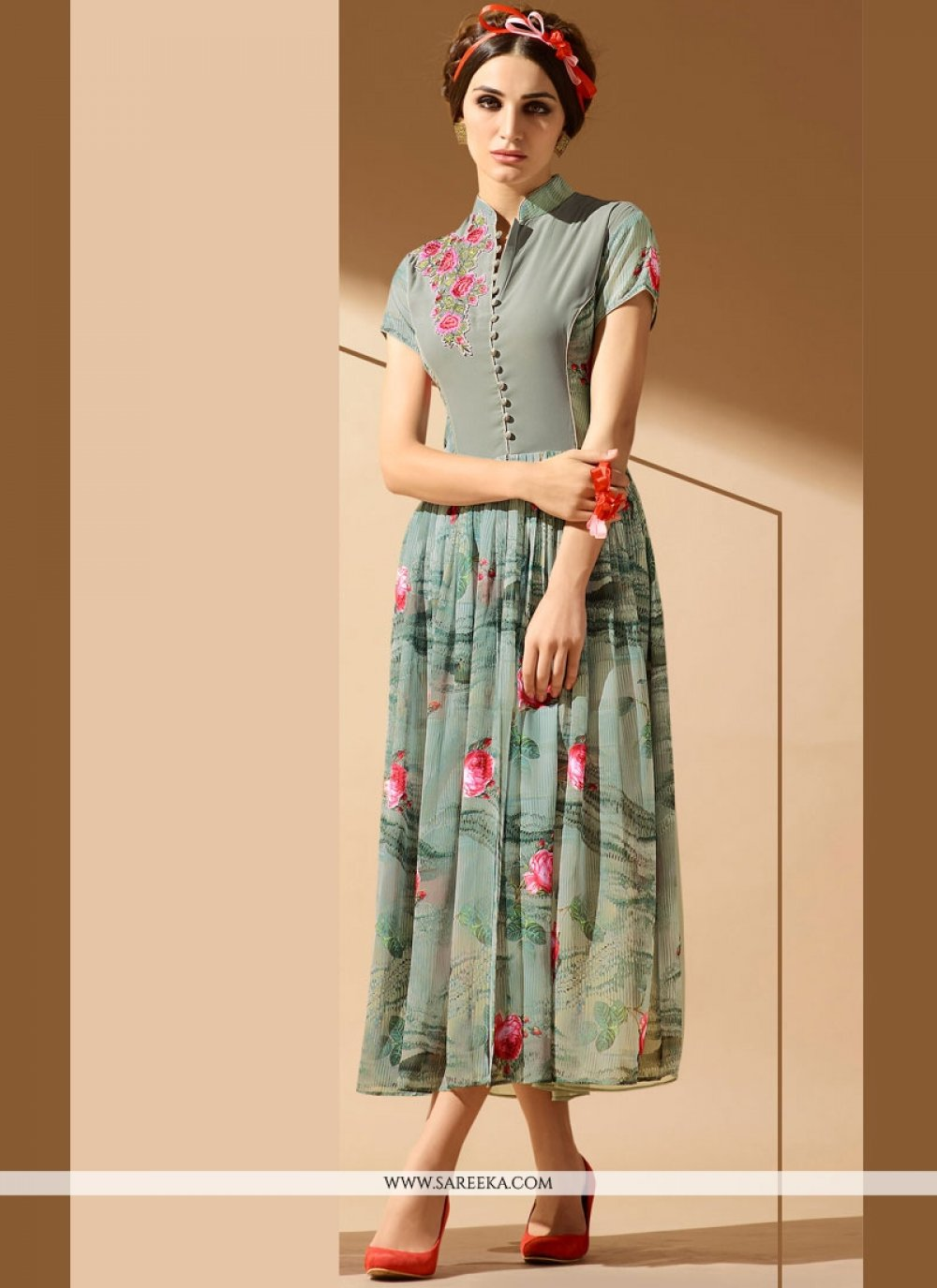 Grey Embroidered Work Party Wear Kurti