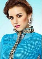 Blue Print Work Faux Georgette Party Wear Kurti