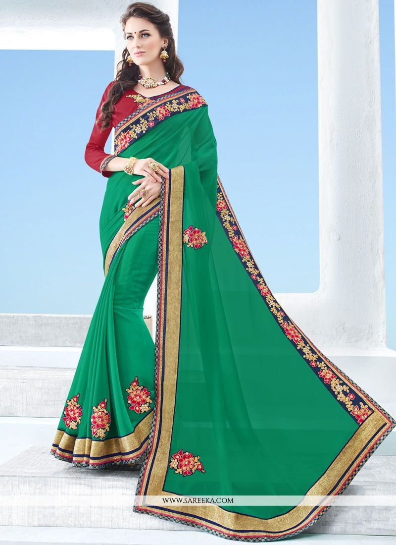 Faux Georgette Sea Green Classic Designer Saree